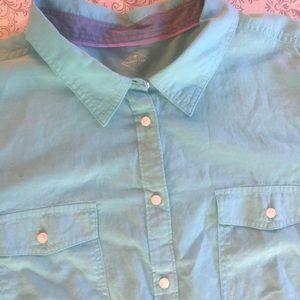 Women's Solid Light Blue Shirt By ST.JOHNS BAY 3XL